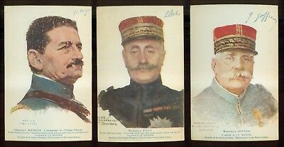 WW1 American Red Cross French Generals Portraits Postcards