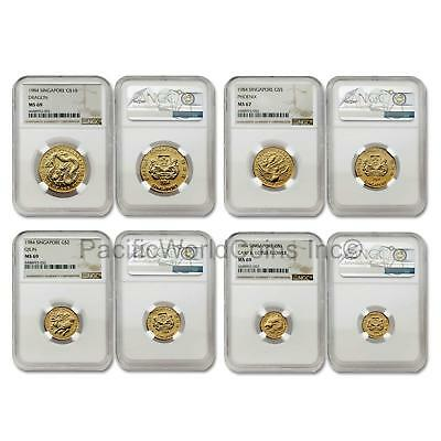 Singapore 1984 4 Coin Gold NGC MS67-69 Set