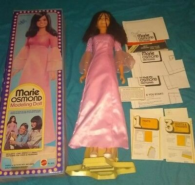 "MARIE OSMOND MODELING DOLL 30"" TALL MATTEL 1976 WITH STAND Box Patterns complete"