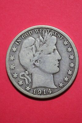 1914 S Barber Liberty Half Dollar Exact Coin Pictured Flat Rate Shipping OCE 453