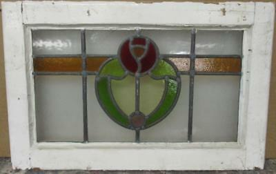 """OLD ENGLISH LEADED STAINED GLASS WINDOW Stunning Floral Band Design 21.75"""" x 14"""""""