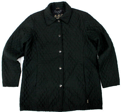 #7168 Barbour Black Quilted Coat Jacket Womens 10 Us