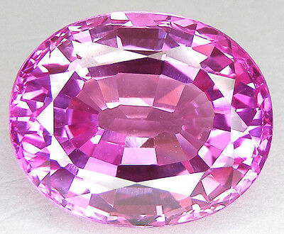 41,22CT. BEAU ENORME T. OVALE 22x18 MM. SAPHIR ROSE CORINDON DE SYNTHESE