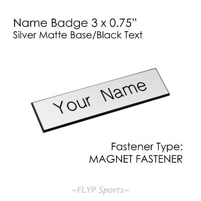 """Name Badge Tag Plate Silver Matte/Black Magnet 3x0.75"""" Personalised Engraved ..."""