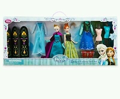 New Disney Store Frozen Classic Anna and Elsa Deluxe Fashion Doll Gift Set  HTF