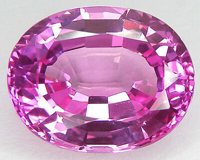 42,53CT. BEAU ENORME T. OVALE 23x18,5 MM. SAPHIR ROSE CORINDON DE SYNTHESE