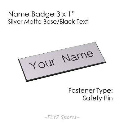 """Name Badge Tag Plate Silver Matte/Black Safety Pin 3x1"""" Personalised Engraved..."""