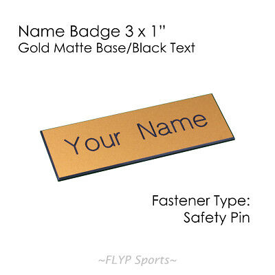 """Name Badge Tag Plate Gold Matte/Black Safety Pin 3x1"""" Personalised Engraved C..."""