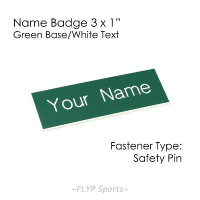 """Name Badge Tag Plate Green/White Safety Pin 3x1"""" Personalised Engraved Custom..."""