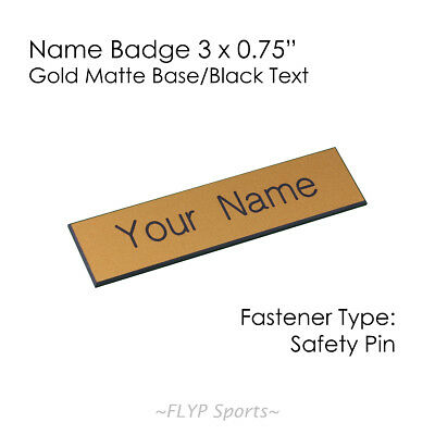 """Name Badge Tag Plate Gold Matte/Black Safety Pin 3x0.75"""" Personalised Engrave..."""
