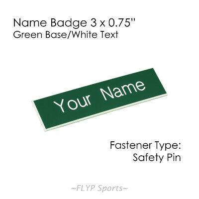 """Name Badge Tag Plate Green/White Safety Pin 3x0.75"""" Personalised Engraved Cus..."""