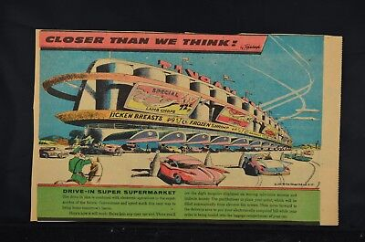 Closer Than We Think!  Arthur  Radebaugh color Sunday comic Drive-In Supermarket