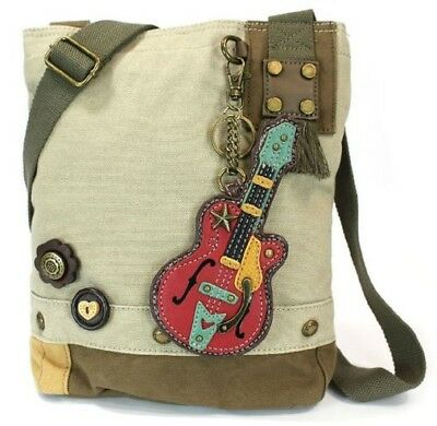 e929ebcc8 Chala Purse Handbag Sand Canvas Crossbody with Key Chain Tote Bag Music  Guitar