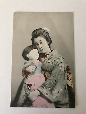 Antique Japanese Postcards Color Tinted Geisha Girl With Doll