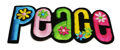 Peace Sign Flowers  Daisy Hippie Word Symbol Iron On Patch  (PWM-32)