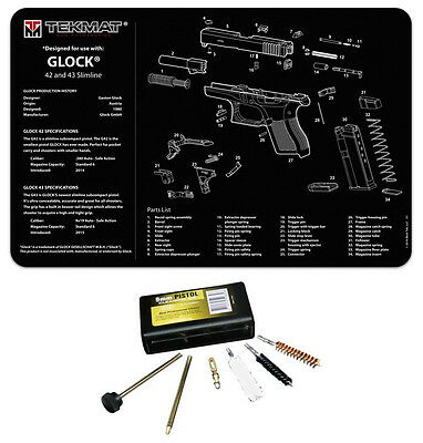 New For Glock 43 Tek Mat Gun Cleaning Mat COMBO KIT With UTG Cleaning Kit