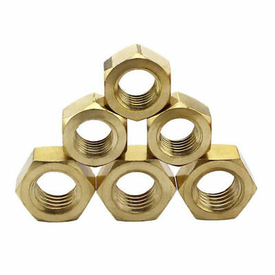 M2/2.5/3/4/5/6/8/10/12/16/20/22/24 Solid Brass Full Hex Nuts For Bolts & Screws