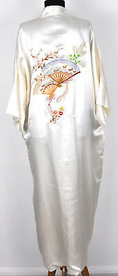 Vtg Off White Ivory Pure Silk Hand Embroidered Chinese Kimono Robe Gown Size XL
