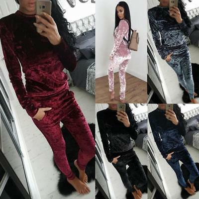 Ladies Crushed Velvet Lounge Suit Casual Sweatshirt+Pants Women Tracksuit Set XL