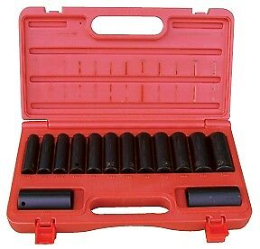 "ATD TOOLS 4301 - 14 Pc. 1/2"" Drive 6 Point Metric Deep Impact Socket Set"