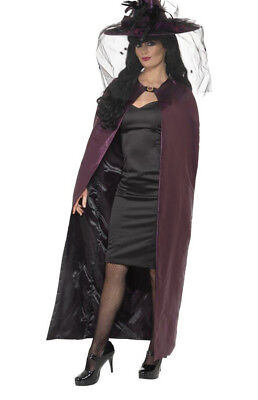 Adult Reversible Black And Purple Witch Cape Accessory Halloween Fancy Dress