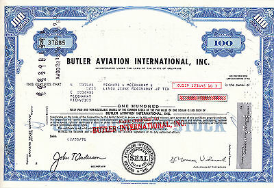 Butler Aviation International Inc-100 shares von 1975