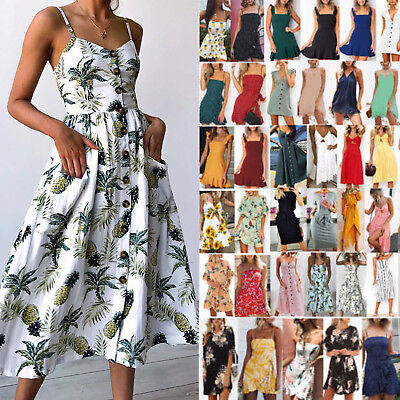 Women Floral Boho Sundress Summer Holiday Beach Strappy Maxi / Mini / Midi Dress