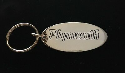 Vintage 70's Solid Brass PLYMOUTH Keychain Key Chain - NOS