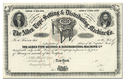 Alden Type Setting & Distributing Machine Co. Stock Certificate (1800's)