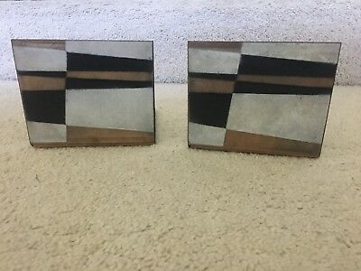Vintage Robert Wuersch Mid-Century Modernist Enamel on Copper Bookends