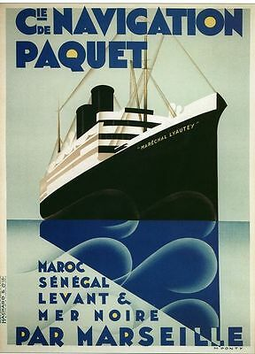 Vintage French Paquet Shipping Line Marseille Cruise Poster A3/A2/A1 Print