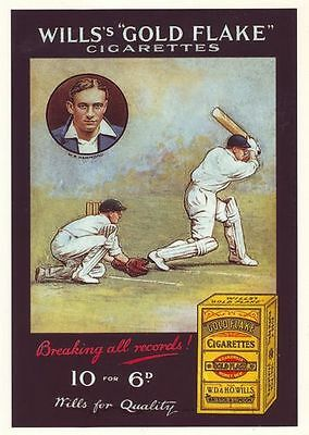 Vintage Wills Cigarettes Cricket Wally Hammond Advertising Poster A3 Reprint