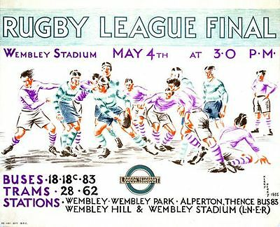 1935 Rugby League Challenge Cup Final Promotional Poster  A3 Print