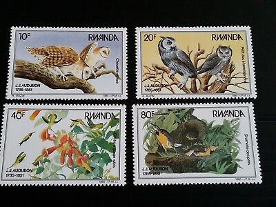 Rwanda 1985 Sg 1237-1240 Birth Bicent Of John J Audubon  Mnh (H)