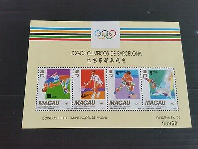 Macao 1992 Sg Ms783 Olympic Games  Mnh (M)