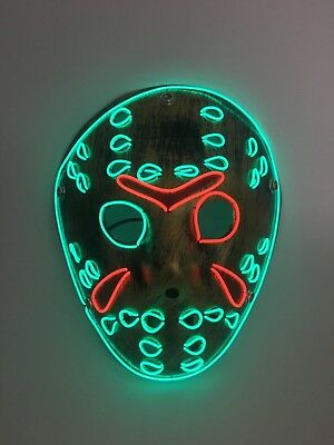 El Wire Scary Halloween Mask Led Costume Rave Cosplay - Jason Friday 13Th Rare