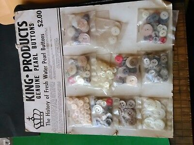 Lot of Vintage Genuine Pearl Buttons, Store Display, King, Sewing NOS