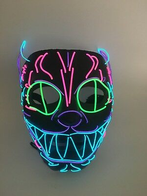 El Wire Scary Halloween Mask Led Costume Rave Cosplay - Cheshire Cat Alice