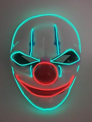 El Wire Scary Halloween Mask Led Costume Rave Cosplay - Killer Clown - It Red