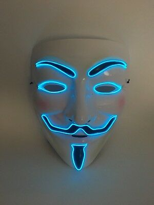 El Wire Scary Halloween Mask Led Costume Rave - Vendetta Guy Fawkes Anonymous