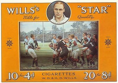 Vintage Wills Cigarettes Rugby Union Advertisement Poster A3 Reprint