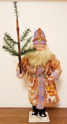 """Early 1900's Germany Paper Mache 22"""" Santa Claus Candy Container & Feather Tree"""