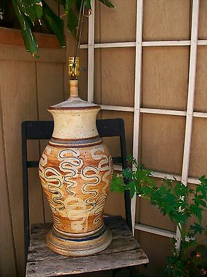 Mid Century Lamp Vintage 1960s Art Pottery Artwork Ceramic Modern Table Cracked
