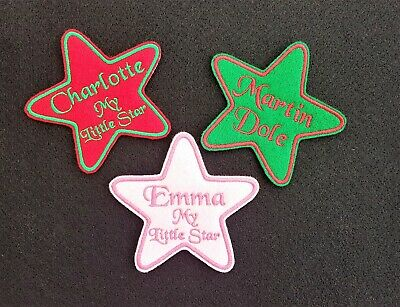 Personalised Embroidered Star Name Patch Badge Iron on or sew