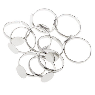 10x Adjustable Ring Blanks White K Plated wit 10mm Flat Adjustable Ring Base