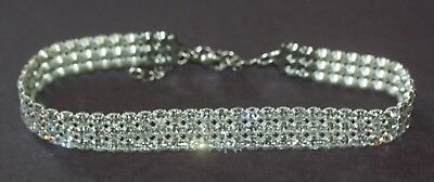 3 Strand Larger Size Rhinestone Choker--Excellent