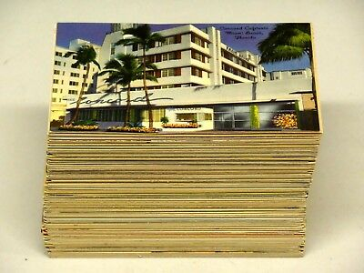 Lot of Approximately 250 Vintage Linen Postcards Town Scenes, Cars, Hotels ++
