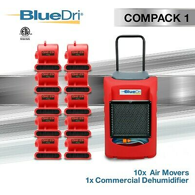 BlueDri COMPACK 1 | 1x LGR75 Commercial Dehumidifier, 10x One-29 Air Movers, Red