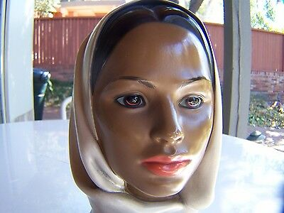 Vintage Marwal Chalkware Woman with Scarf - Bust - Head - Statue - Figure
