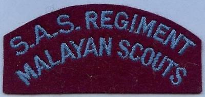 British Army Repro Cloth Shoulder Title  S.A.S. REGIMENT MALAYAN SCOUTS